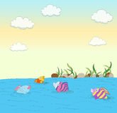 Cute colorful fishes Royalty Free Stock Images