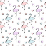 Cute colorful flamingos silhouette with stars seamless pattern background illustration. Cute colorful flamingos silhouette with stars seamless vector pattern Stock Photos