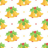 Cute colorful flat design christmas bell and mistletoe seamless pattern background Stock Photos