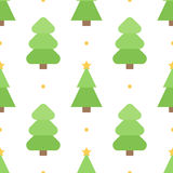 Cute colorful flat design christmas tree seamless pattern background Stock Image