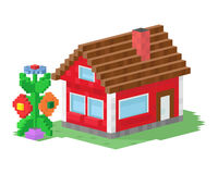 Cute colorful flat style house village pixel art real estate cottage and home design residential colorful building Royalty Free Stock Image