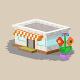 Cute colorful flat style house village pixel art real estate cottage and home design residential colorful building Royalty Free Stock Photography