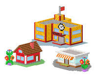 Cute colorful flat style house village pixel art real estate cottage and home design residential colorful building. Construction vector illustration. Graphic Royalty Free Stock Photo