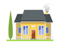 Cute colorful flat style house village symbol real estate cottage and home design residential colorful building. Construction vector illustration. Graphic Royalty Free Stock Photography