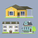 Cute colorful flat style house village symbol real estate cottage and home design residential colorful building Stock Image