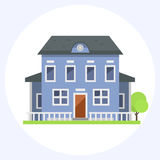 Cute colorful flat style house village symbol real estate cottage and home design residential colorful building Stock Photos
