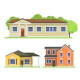 Cute colorful flat style house village symbol real estate cottage and home design residential colorful building. Construction vector illustration. Graphic Stock Photography