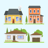 Cute colorful flat style house village symbol real estate cottage and home design residential colorful building Stock Photography