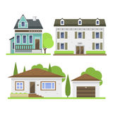 Cute colorful flat style house village symbol real estate cottage and home design residential colorful building. Construction vector illustration. Graphic Royalty Free Stock Photo