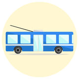 Cute colorful flat trolley bus icon Royalty Free Stock Image
