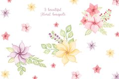 Cute Colorful floral botanical collection with leaves and flowers, berries watercolor. Spring and summer design for invitation, stock illustration