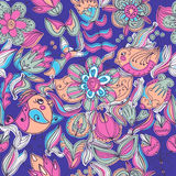 Cute colorful floral seamless pattern with bird Stock Photography