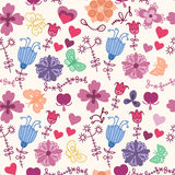 Cute colorful floral seamless pattern with butterf vector illustration
