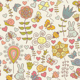 Cute colorful floral seamless pattern with butterf. Cute colorful floral seamless pattern with rabbit, snail and butterflies Royalty Free Stock Image