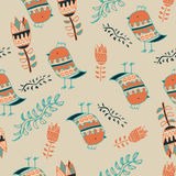 Cute colorful floral seamless pattern with owl and Stock Photo