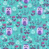 Cute colorful floral seamless pattern with owls Royalty Free Stock Photo