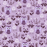 Cute colorful floral seamless pattern with owls Royalty Free Stock Images