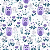 Cute colorful floral seamless pattern with owls Stock Photography
