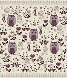 Cute colorful floral seamless pattern with owls. Stock Images