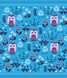 Cute colorful floral seamless pattern with owls. Kids blanket design Stock Photography