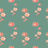 Cute colorful flowers lovely oriental seamless pattern background illustration Stock Photography