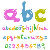 Cute colorful funny font. Cute Handwriting style funny font Stock Image