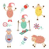 Cute colorful funny sheeps collection Royalty Free Stock Photo
