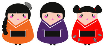 Cute colorful Geisha set Stock Photos