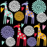 Cute colorful giraffe seamless pattern with flowers,  illustration background Stock Photos