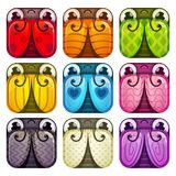 Cute colorful glossy square bugs set. Funny items for web or game design. Isolated vector icons on white background Royalty Free Stock Images