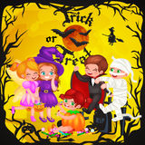Cute colorful Halloween kids in costume for party set isolated vector illustration Stock Photography