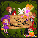 Cute colorful Halloween kids in costume for party set isolated vector illustration Stock Photo