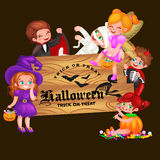 Cute colorful Halloween kids in costume for party set isolated vector illustration Royalty Free Stock Images