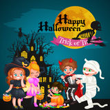 Cute colorful Halloween kids in costume for party set isolated vector illustration Stock Image
