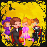 Cute colorful Halloween kids in costume for party set isolated vector illustration.  vector illustration