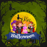 Cute colorful Halloween kids in costume for party set isolated vector illustration.  royalty free illustration