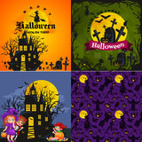 Cute colorful Halloween kids in costume for party set vector illustration.  royalty free illustration