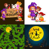 Cute colorful Halloween kids in costume for party set vector illustration.  stock illustration