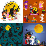 Cute colorful Halloween kids in costume for party set vector illustration.  vector illustration