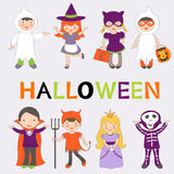 Cute colorful Halloween kids set Stock Photo