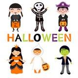 Cute colorful Halloween kids set Stock Image