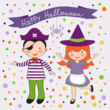 Cute colorful Halloween kids set Royalty Free Stock Image