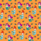 Cute and colorful hand drawn see fish and mermaid seamless pattern vector Royalty Free Stock Image