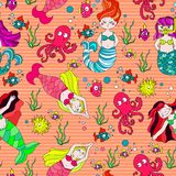 Cute and colorful hand drawn see fish and mermaid seamless pattern vector vector illustration