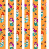 Cute and colorful hand drawn see and mermaid seamless pattern vector Royalty Free Stock Photography