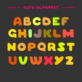 Cute colorful hand drawn uppercase alphabet. Cartoon style ABC letters. Design for book cover, poster, card stock illustration