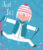 Cute Colorful Hand Drawn Winter Clothes Skier Royalty Free Stock Photos