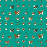 Funny shiba inu dog smile flat seamless pattern, vector illustration vector illustration