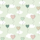 Cute colorful heart balloons in the sky lovely valentine seamless pattern background illustration Stock Photo