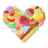 Cute colorful heart from sweets, pastry and cupcakes. Vector illustration  on white background. Valentine's day background with colorful heart made of sweets Stock Image